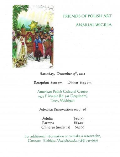 The Friends Of Polish Art Annual Wigilia Saturday