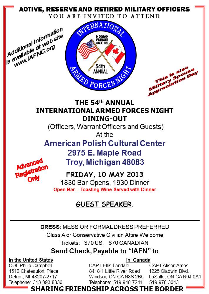 INTERNATIONAL ARMED FORCES NIGHT 2013