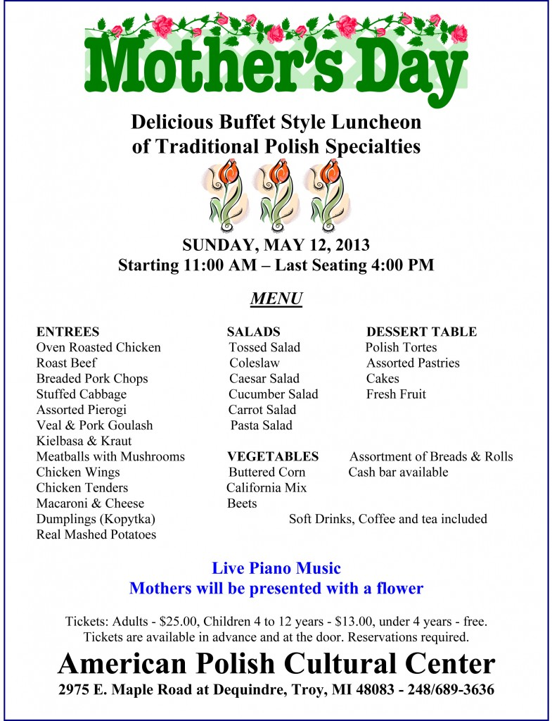 Microsoft Word - Mother's Day Menu 2013