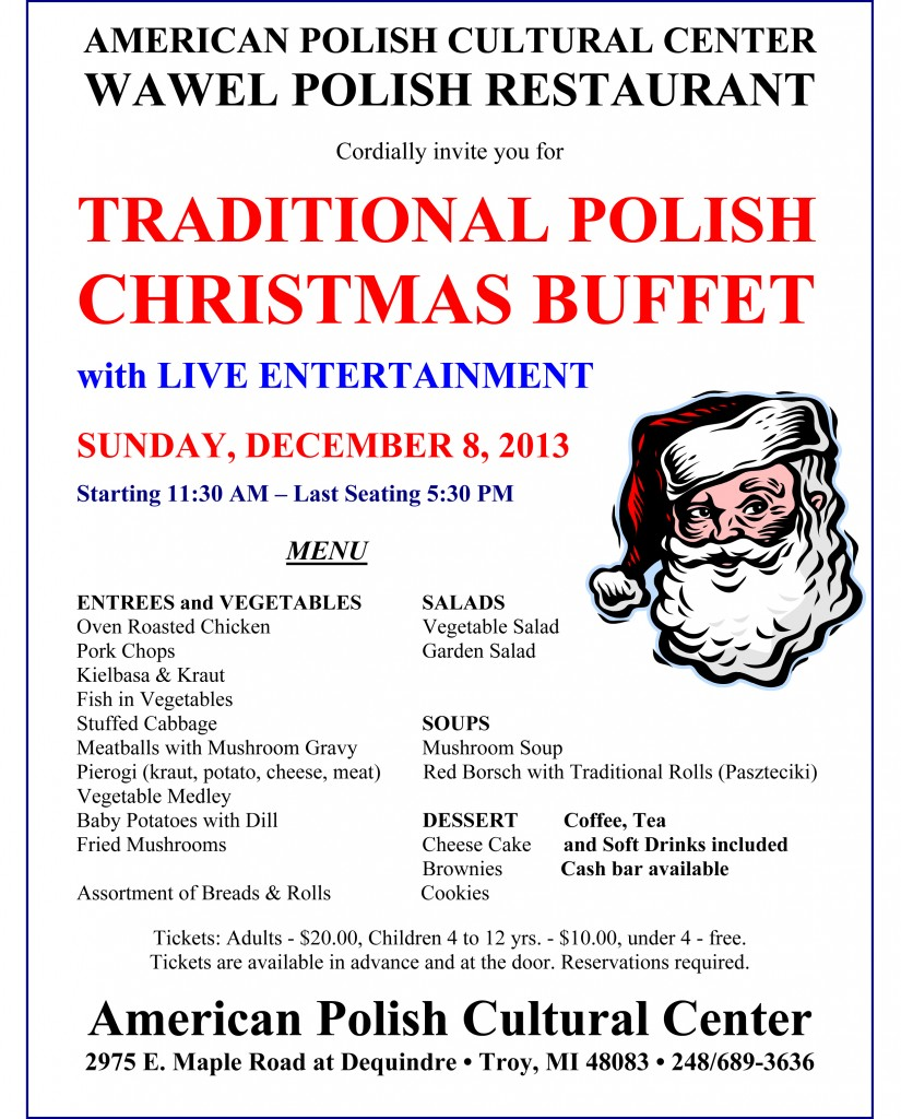 Christmas Buffet 2013- Menu