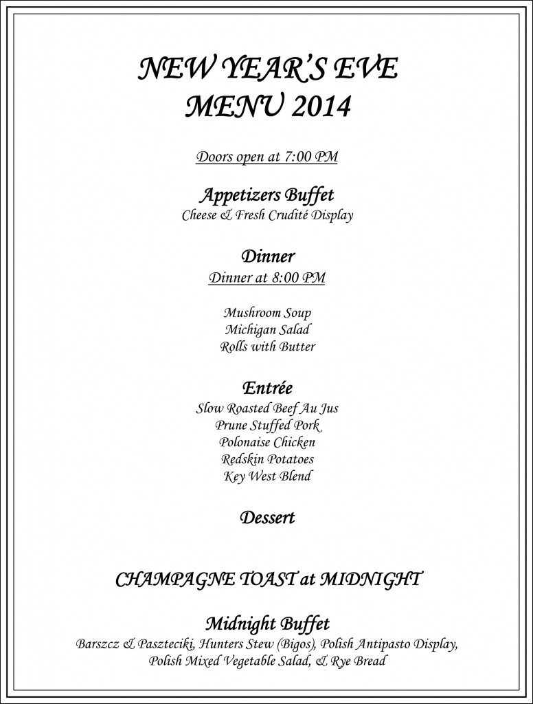 New Year's Eve Menu 2014