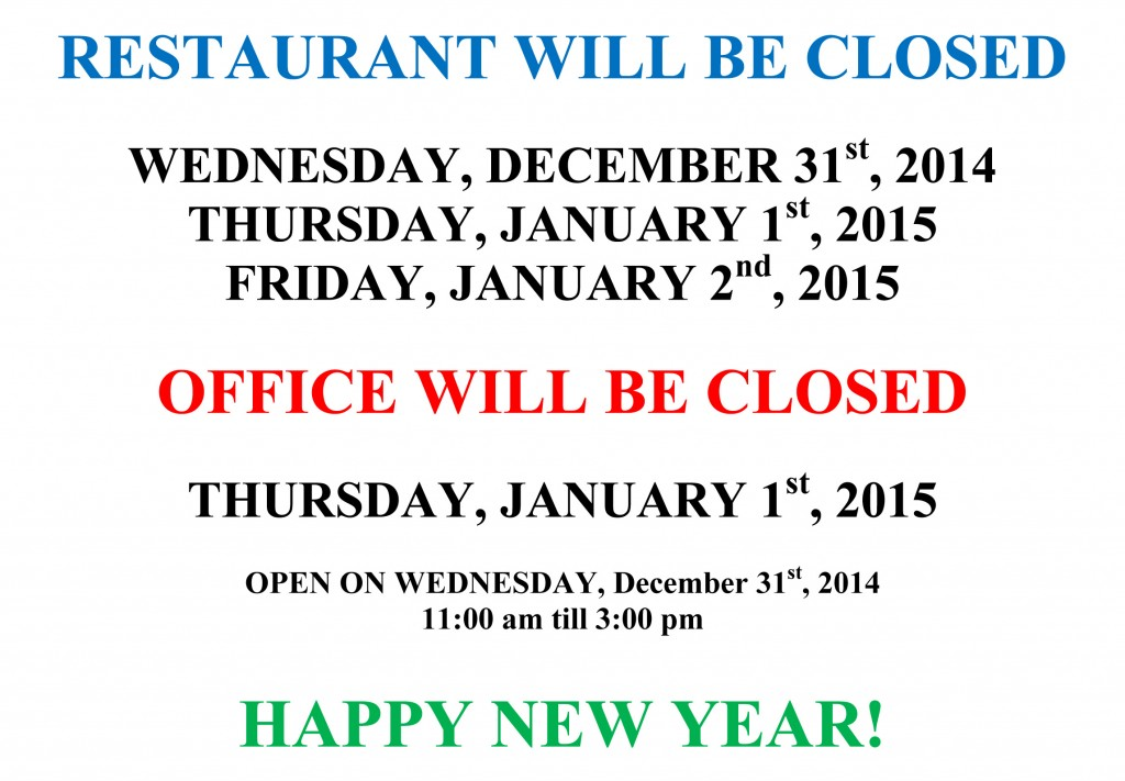New Year's Eve Closing