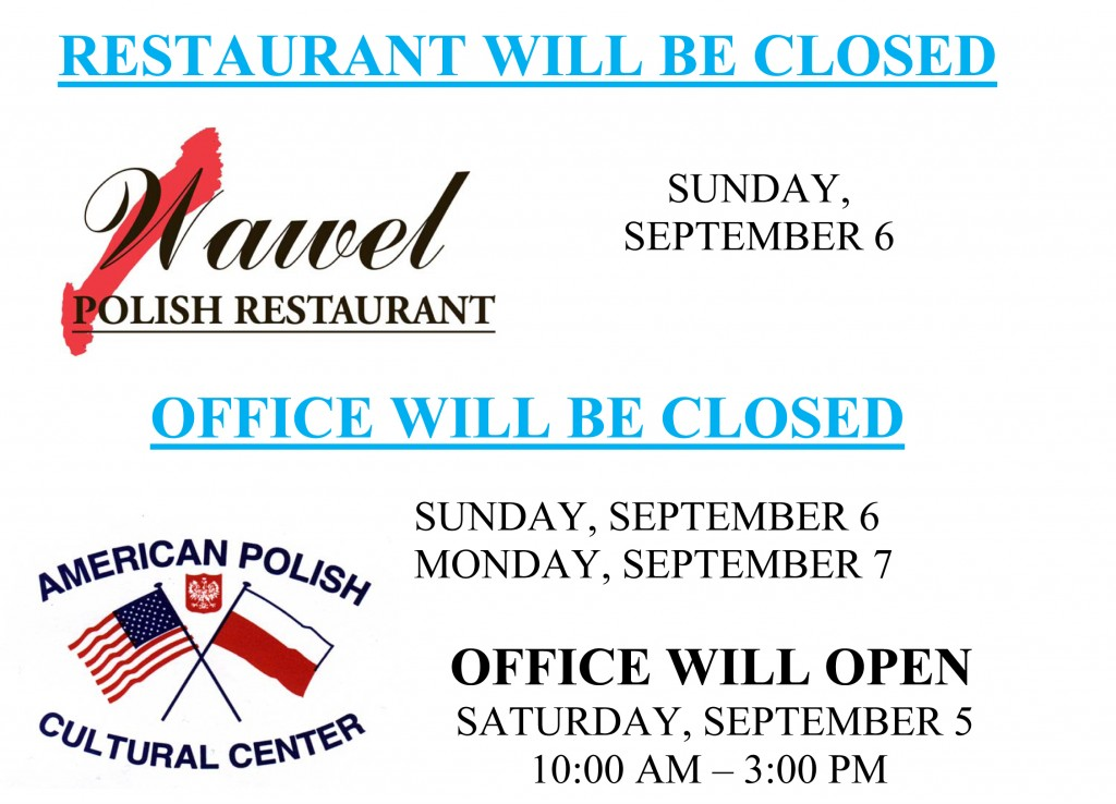 Labor Day Closing 2015