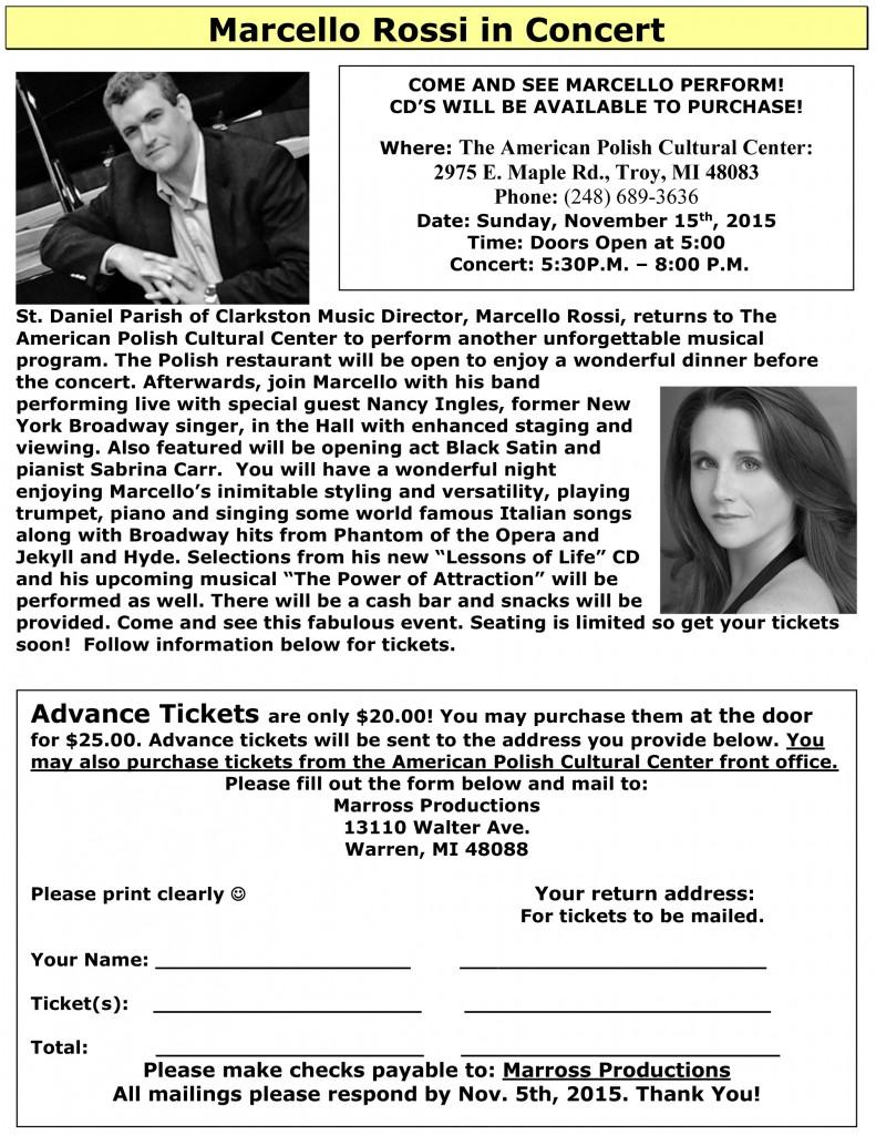 Marcello Rossi in Concert Flyer Nov 15th - APCC