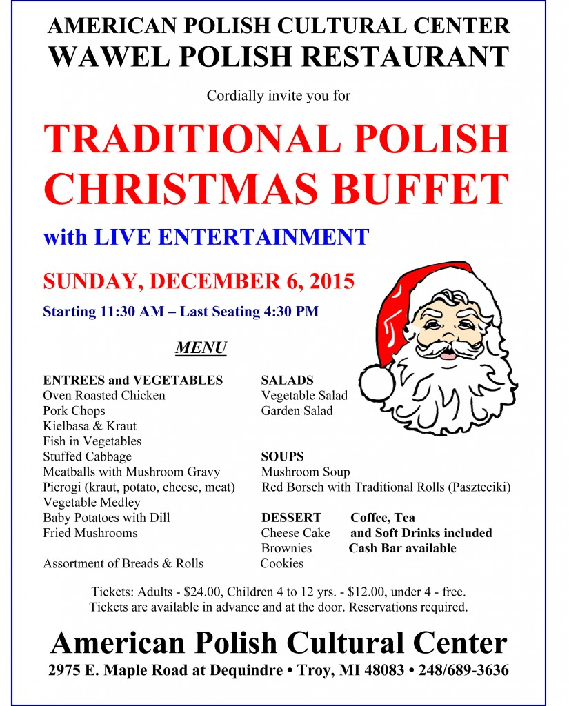 Christmas Buffet 2015 - Menu