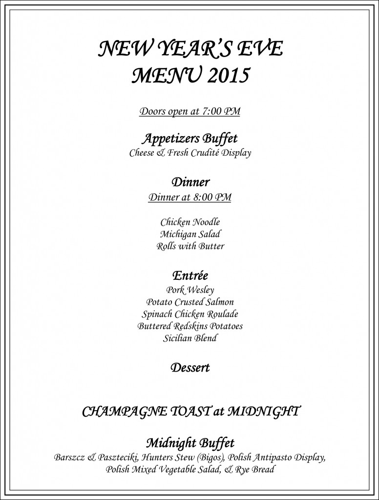 New Year's Eve Menu 2015