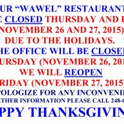 THANKSGIVING CLOSED
