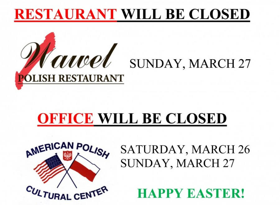 Restaurant Will Be Closed On Sunday March 27 Office Will
