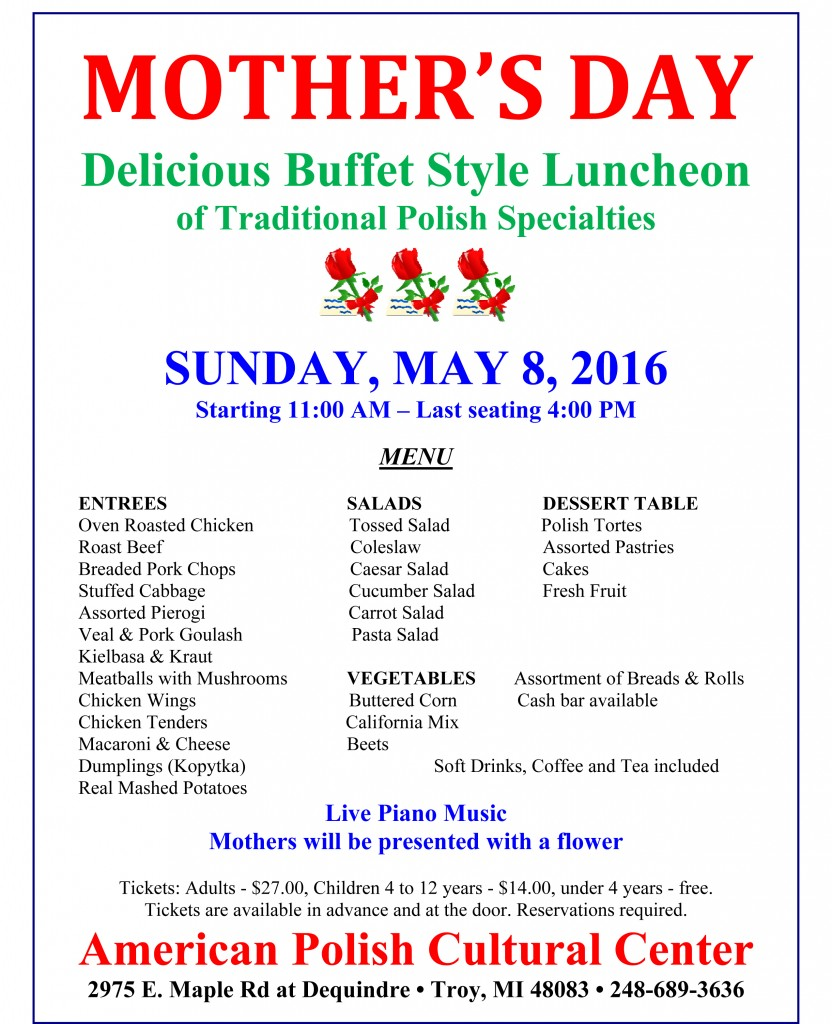 Mother's Day 2016 - Menu