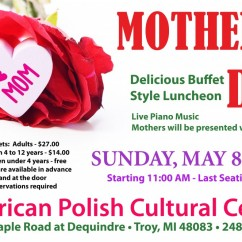 MOTHER'S DAY BUFFET: Sunday, May 8, 2016