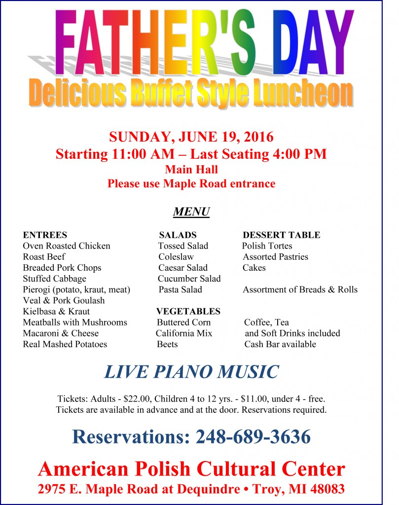 Father's Day 2016 - Menu
