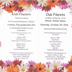 CLUB FILARETS ANNUAL DINNER DANCE: Saturday, October 29, 2016