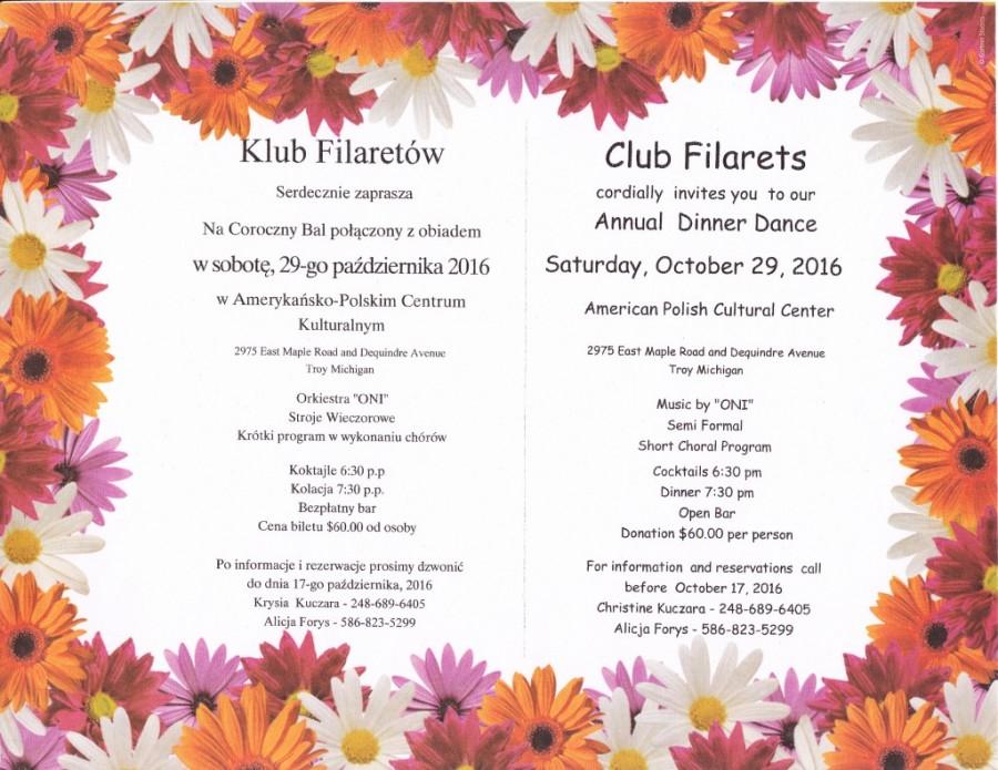 Club Filarets Annual Dinner Dance Saturday October 29 2016