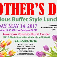 MOTHER'S DAY BUFFET: Sunday, May 14, 2017