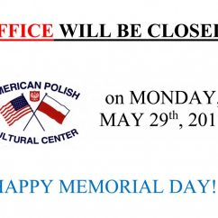 OFFICE WILL BE CLOSED on MONDAY, MAY 29th, 2017