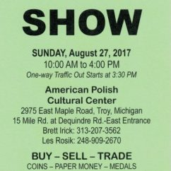 REGIONAL COIN SHOW: Sunday, August 27, 2017