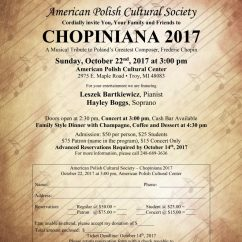 CHOPINIANA 2017: Sunday, October 22, 2017 at 3:00 pm