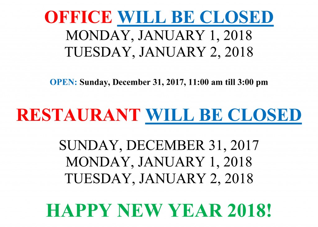 Office Will Be Closed Monday January 1 And Tuesday
