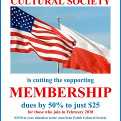 Become a Member of The American Polish Cultural Society for only $25 – Offer expires February 28, 2018