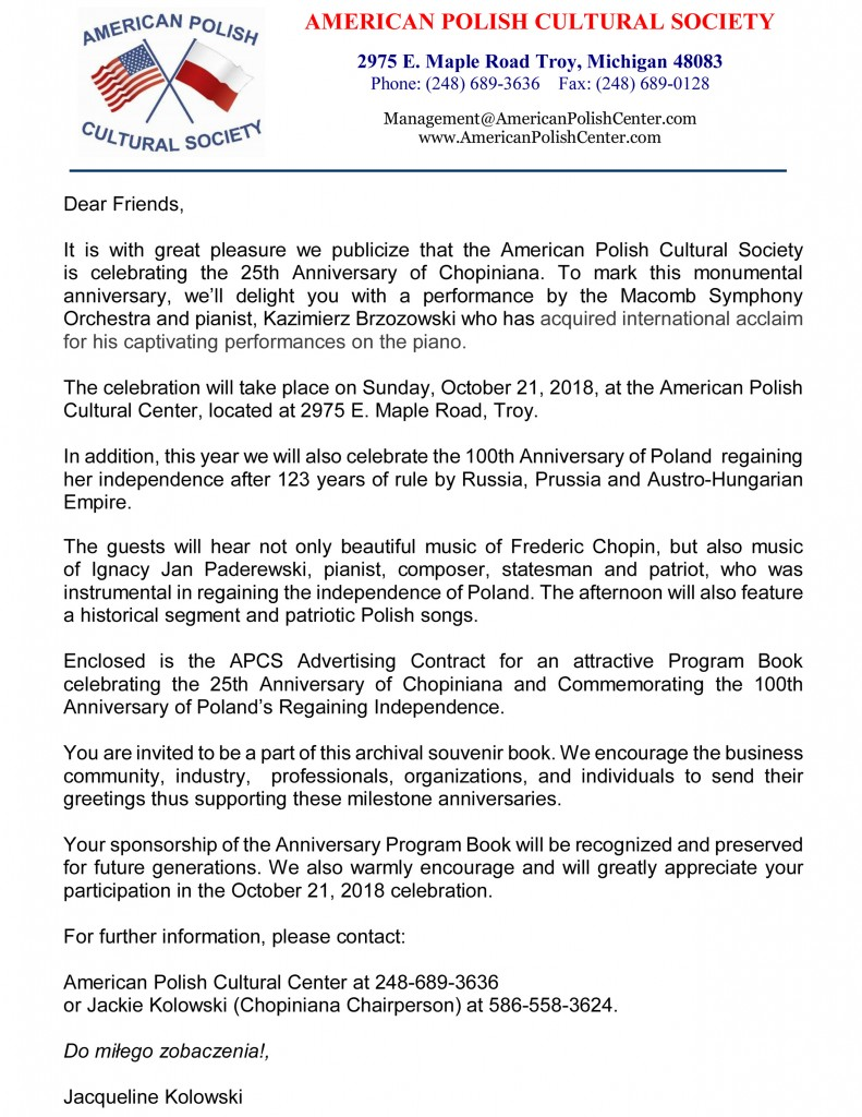 chopiniana 2018 contract cover letter