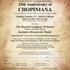 25th ANNIVERSARY OF CHOPINIANA: Sunday, October 21 at 3:00 pm